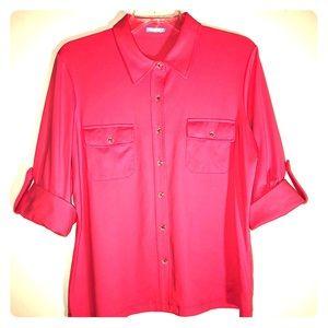 J. McLaughlin 3-4 Sleeve Button-down Shirt/Coral